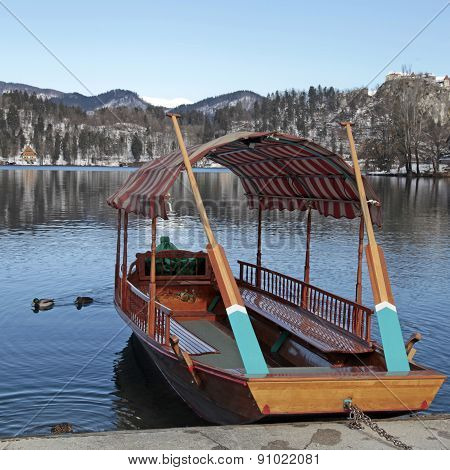 Traditional Slovenian Boat, On Lake Bled, Slovenia