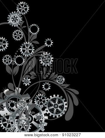 Abstract mechanical background with floral elements, vector illustration. Steampunk gear;