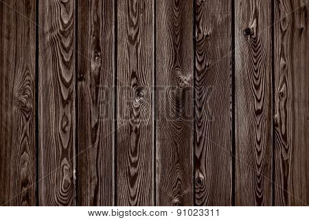 Natural Wooden Brown And Chocolate Boards, Wall Or Fence With Knots. Abstract Texture Background