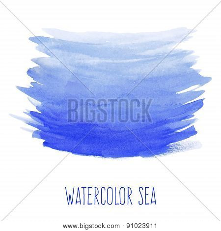 Hand painted watercolor sea.