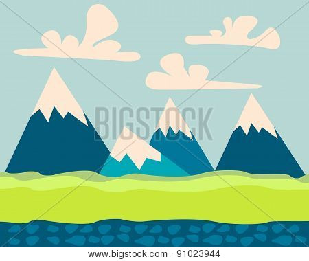 Mountain landscape. Game Design. Flat design. Vector illustration