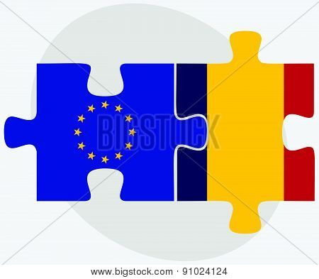 European Union And Chad Flags In Puzzle