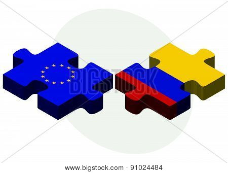 European Union And Colombia Flags In Puzzle