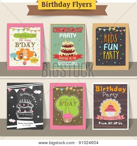 Stylish birthday party flyers collection decorated with sweet cakes and cupcakes.