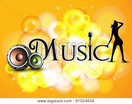 Stylish text of Music with speakers and silhouetter of a young girl on stylish shiny orange background.