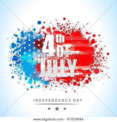 Shiny text 4th of July on national flag colors splash background for American Independence Day celebration.