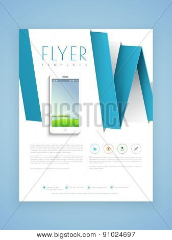 Creative professional flyer, template or brochure design with smartphone for technology concept.
