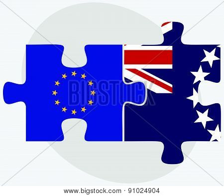 European Union And Cook Islands Flags In Puzzle