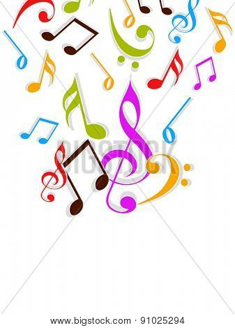 Colorful musical notes on beige background.