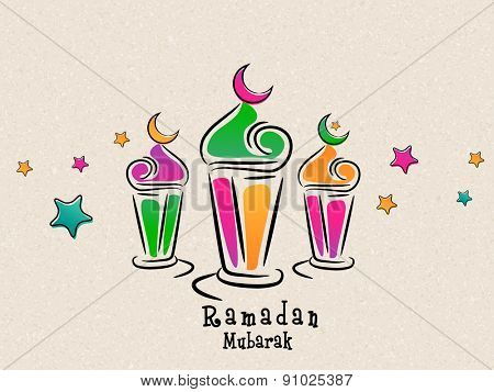 Arabic colorful traditional lanterns with stars on beige background for Islamic holy month of prayers, Ramadan Mubarak celebrations.