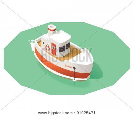 Isometric icon representing small ship