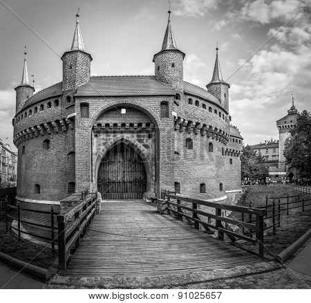 B&w Barbakan Fortress In Cracow, Poland