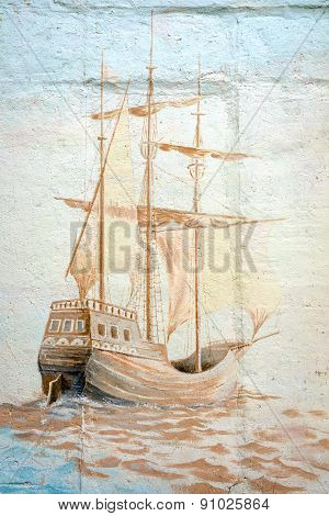 Moscow, Russia - May 19, 2015: Graffiti Wall By An Unidentified Artist With Sea Vessel In Prospect M