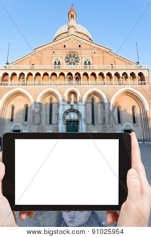 Tourist Takes Photo Of Basilica In Padua, Italy