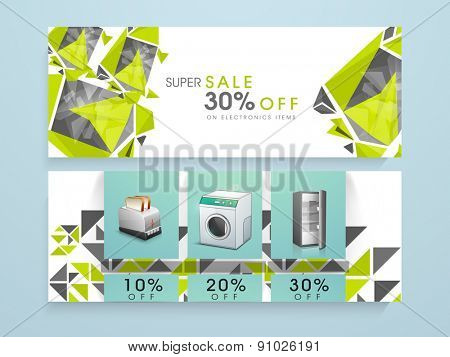 Sale of electronics items website header or banner with discount offer.