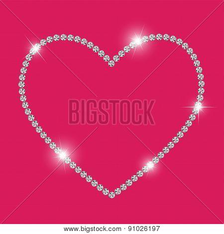 Abstract Luxury Diamond Heart Vector Illustration