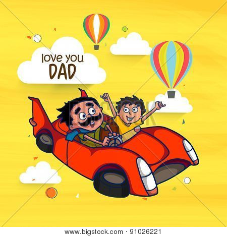 Father and Son enjoying car ride in the sky with hot air balloons, and clouds for Happy Fathers Day celebrations concept.