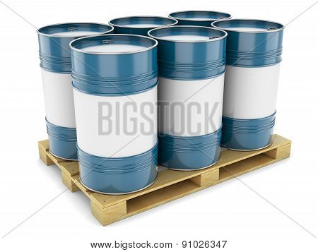 Blue Steel Barrels On Pallet