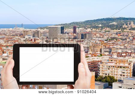 Tourist Photographs Of Barcelona And Hill Montjuic