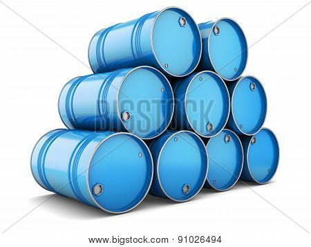Group Of Blue Steel Barrels