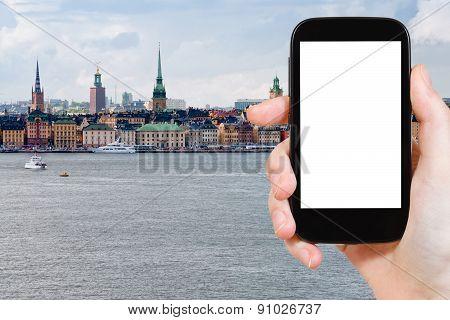 Tourist Photographs Of Skyline Of Stockholm City