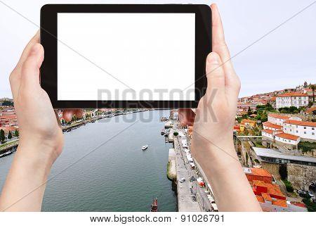 Tourist Photographs Above View Of Porto City
