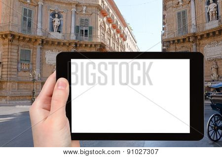 Tourist Photographs Of Baroque Square In Palermo