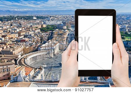 Tourist Photographs Above View Of St.peter Square