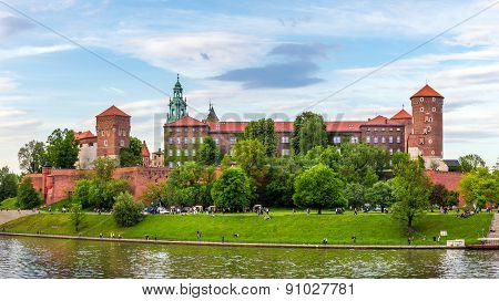 Panorama Of Wawel Castle In Cracow, Poland