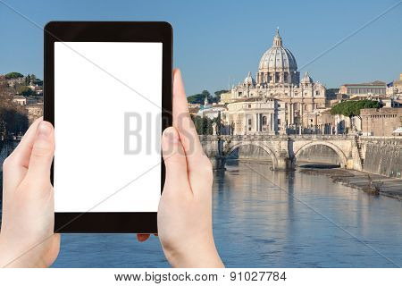 Tourist Photographs Tiber River St Peter Basilica