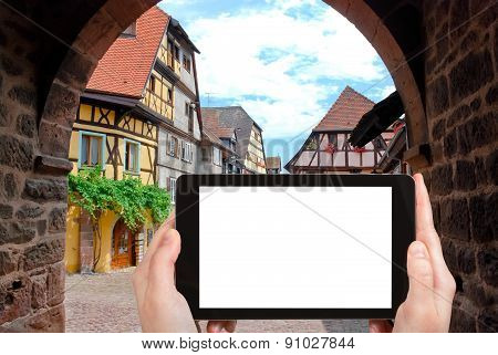 Tourist Photographs Riquewihr Town, France