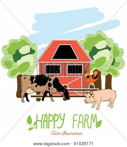illustration with animals from the farm