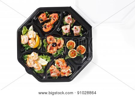 Top View Of Buffet Box Catering With Seafood And Fish