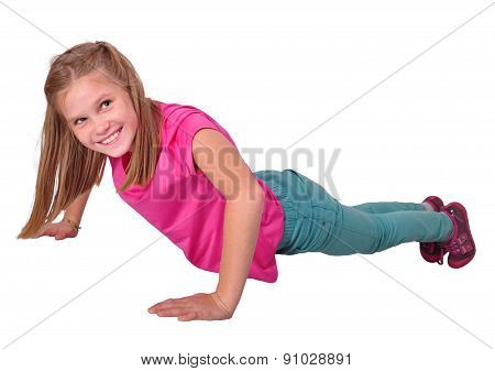 Isolated Portrait Of  Girl Working Out Exercises