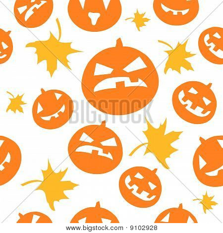 Seamless halloween background with scary pumpkins