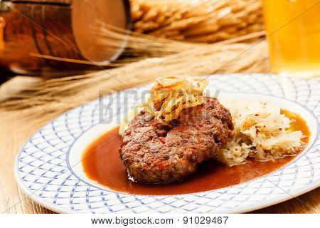 beef cutlet with mashed potatoes and cabbage