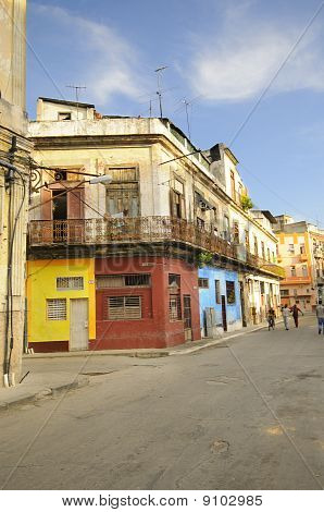 Street With Colorful Facades. Havana - 9 July, 2010.