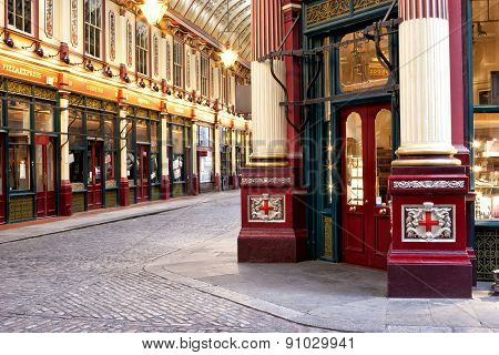 View of shops and restaurants inside old Victorian Leadenhall Market in City of London Square Mile