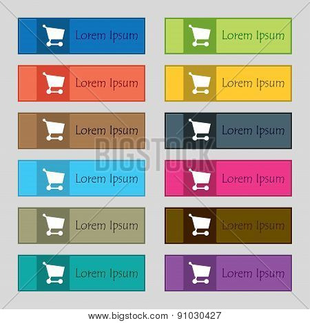 Shopping Basket  Icon Sign. Set Of Twelve Rectangular, Colorful, Beautiful, High-quality Buttons For