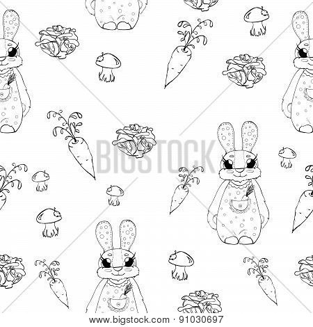 Seamless pattern with rabbit and vegetables in cartoon style