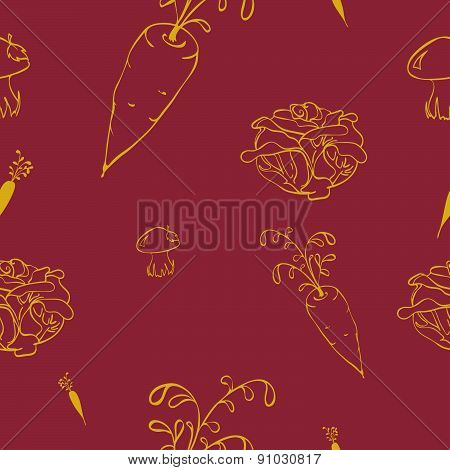 Seamless pattern with vegetables in cartoon style