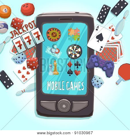Mobile phone games concept