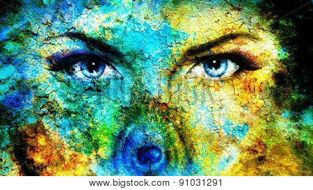 Pair Of Beautiful Blue Women Eyes Looking Up Mysteriously From Behind A Small Rainbow Colored Peacoc