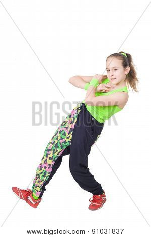 Happy little girl dancing break dance