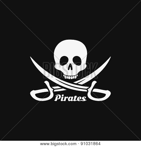 Pirates skull logo emblem icon