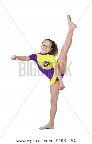 Cute Young Girl Doing Gymnastics