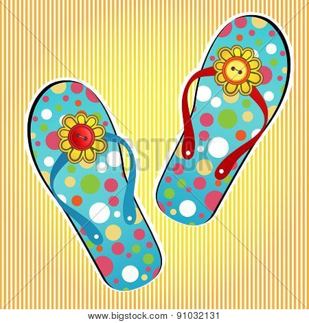 Summer flipflops flower and buttons on the strap (One red strap one blue,one red button one yellow)