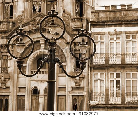 Portugal. Porto City. Ancient Lantern. In Sepia Toned. Retro Style