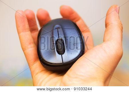Open Hand And Computer Mouse  With Water Drops