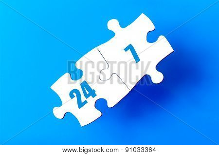 Connected Puzzle Pieces With Text Twenty Four Seven